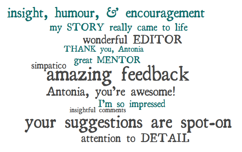 word bubble of client reviews